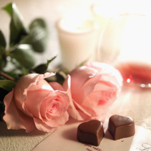 Chocolate Hearts and Pink Roses
